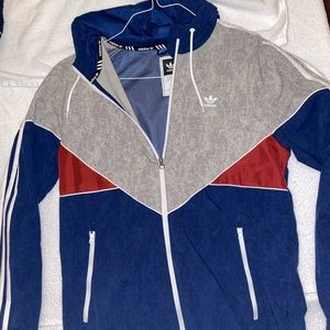 Adidas Trefoil Red White Blue Zip Windbreaker